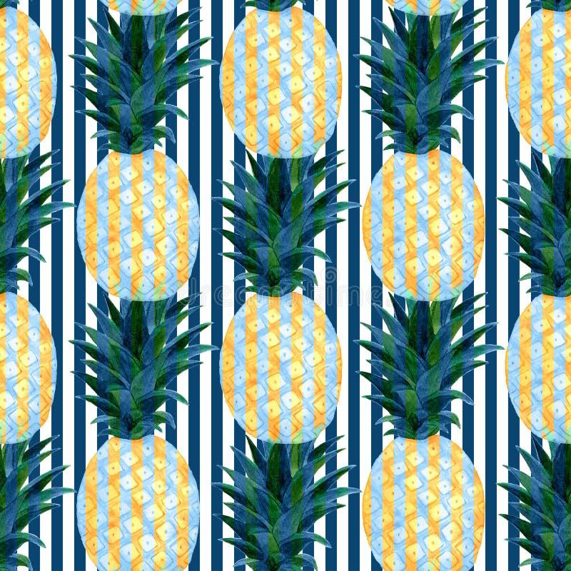 Teste padrão sem emenda dos abacaxis da aquarela no estilo abstrato Projeto da cópia do verão da forma ilustração do vetor
