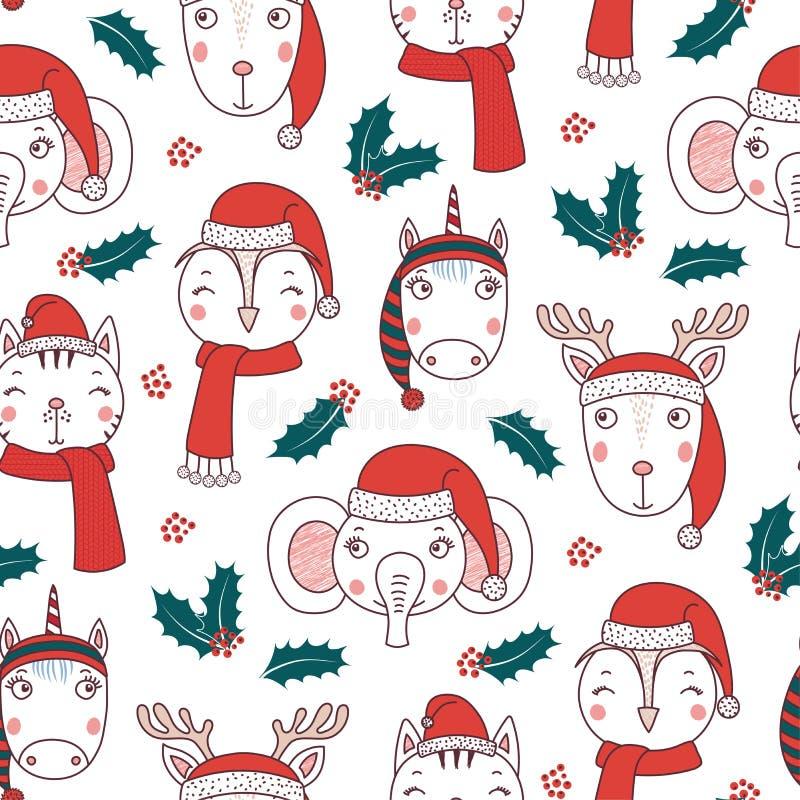 Teste padrão sem emenda dos animais bonitos do Natal ilustração do vetor