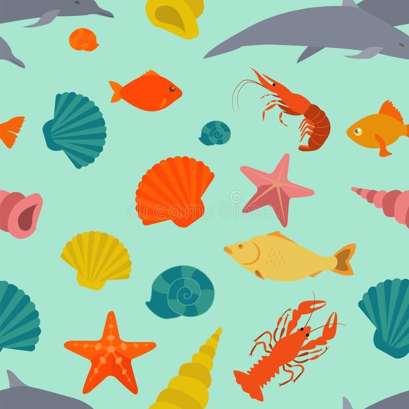 Teste padrão sem emenda dos animais de mar Estilo liso do vetor ilustração stock