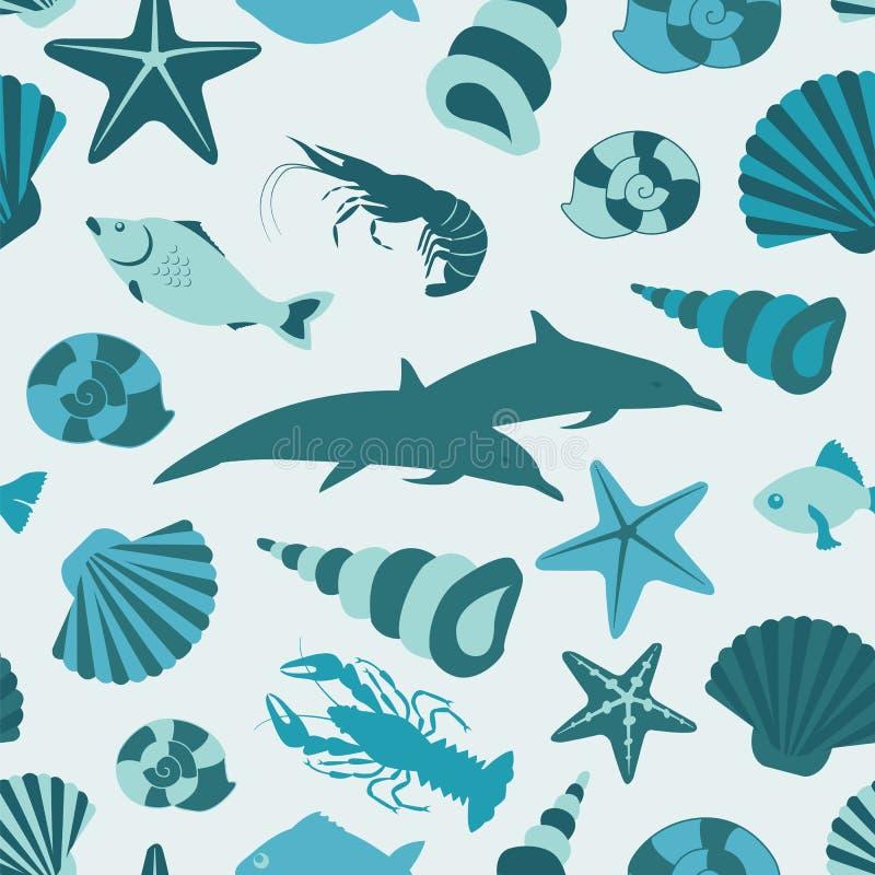 Teste padrão sem emenda dos animais de mar Estilo liso do vetor ilustração royalty free