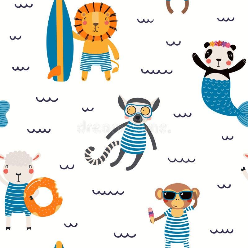Teste padrão sem emenda dos animais do verão ilustração royalty free
