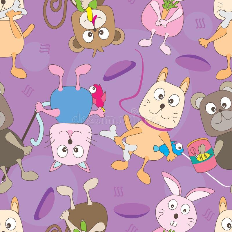 Teste padrão sem emenda dos animais dos desenhos animados ilustração stock