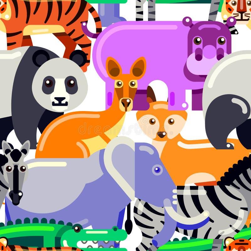 Teste padrão sem emenda dos animais Ilustração lisa do vetor do jardim zoológico Fundo colorido dos desenhos animados ilustração stock