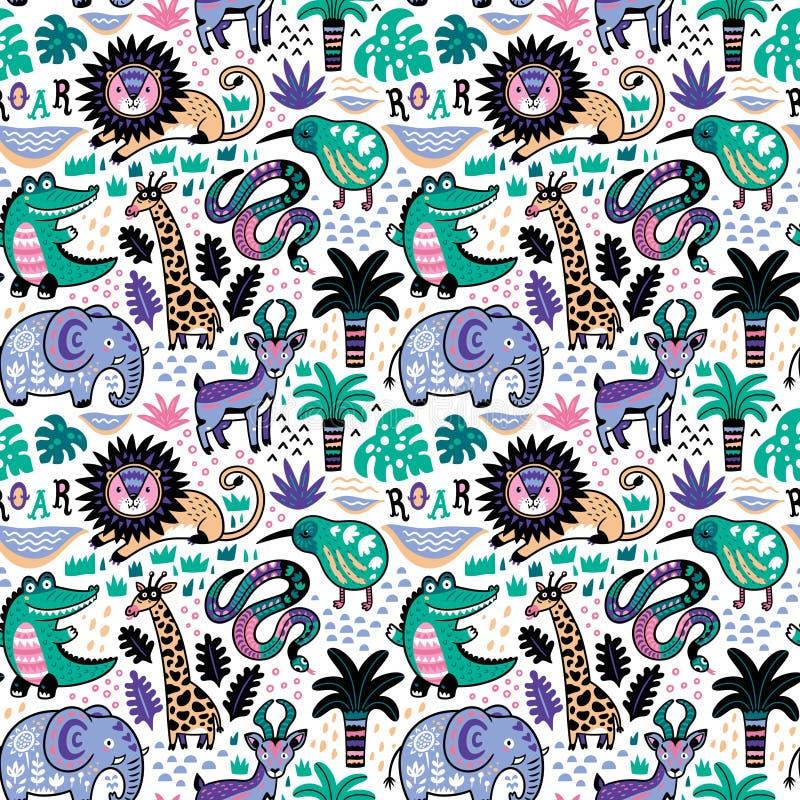 Teste padrão sem emenda dos animais tropicais engraçados no estilo decorativo dos desenhos animados Ilustração do vetor ilustração stock