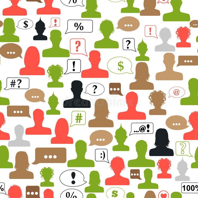 Teste padrão sem emenda dos avatars e das bolhas do discurso ilustração do vetor