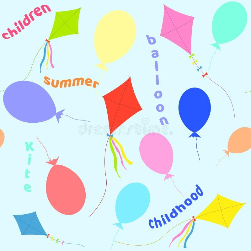 Teste padrão sem emenda dos balões e de um papagaio Ilustração do vetor ilustração stock