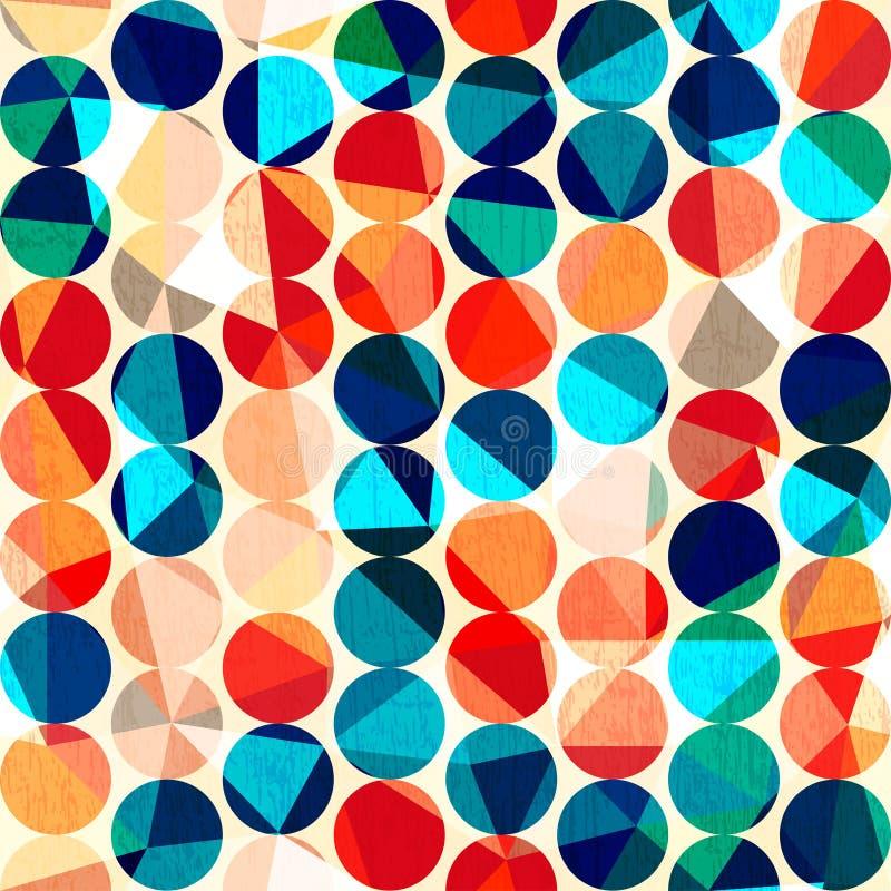 Teste padrão sem emenda dos círculos coloridos com grunge e efeito do vidro ilustração do vetor