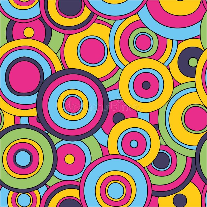 Teste padrão sem emenda dos círculos psicadélicos, ilustração do vetor