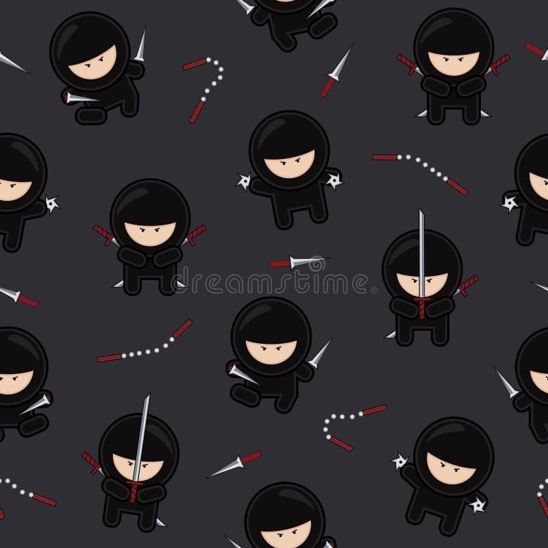 Teste padrão sem emenda dos caráteres de Ninja no fundo preto, ilustração do vetor dos guerreiros dos desenhos animados ilustração royalty free
