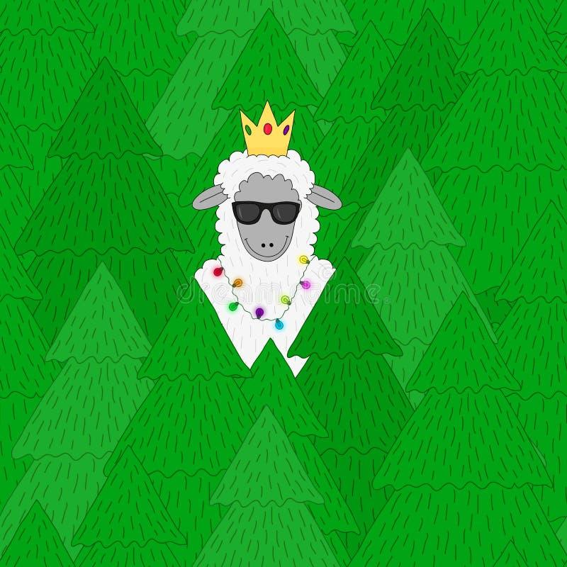 Teste padrão sem emenda dos carneiros dos desenhos animados - ilustração de um símbolo de 2015 ilustração royalty free