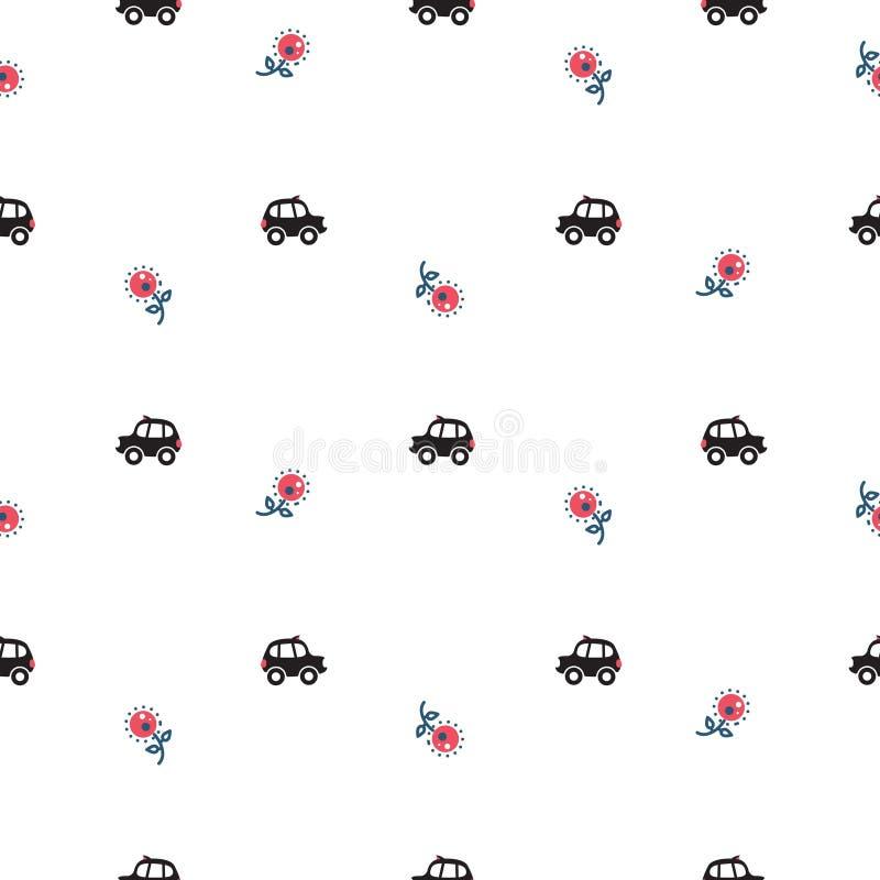 Teste padrão sem emenda dos carros e das flores do táxi dos desenhos animados de Londres ilustração do vetor