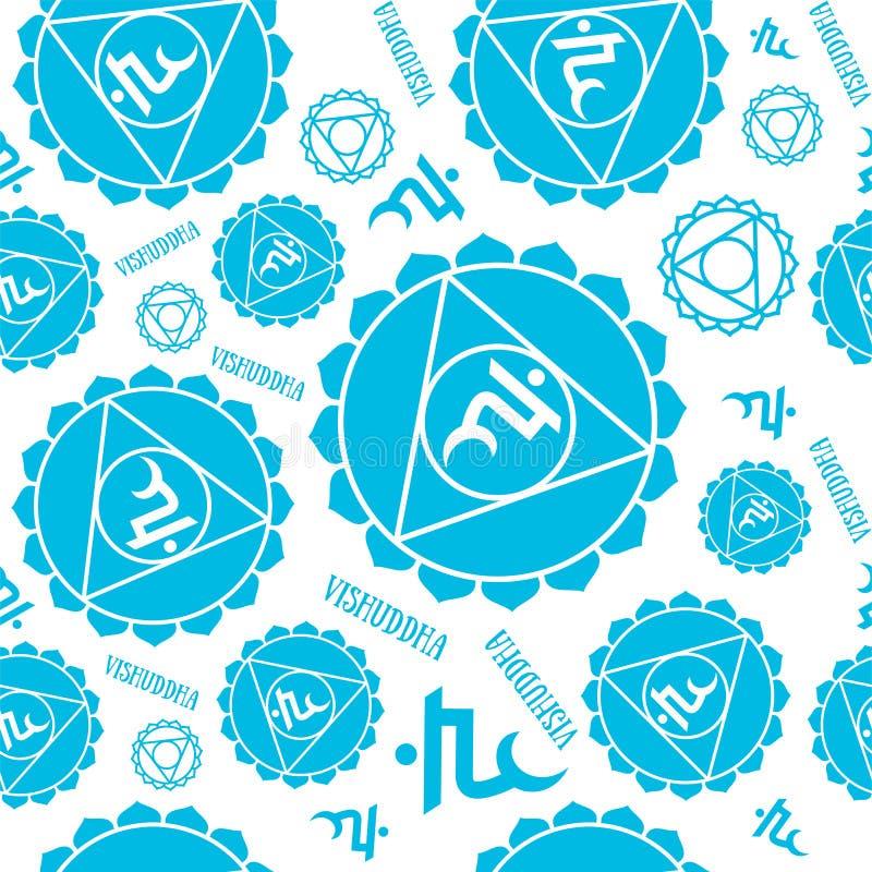 Teste padrão sem emenda dos chakras de Vishuddha Fundo esotérico do vetor Hinduísmo, buddhism Linha símbolo Cor azul ilustração stock