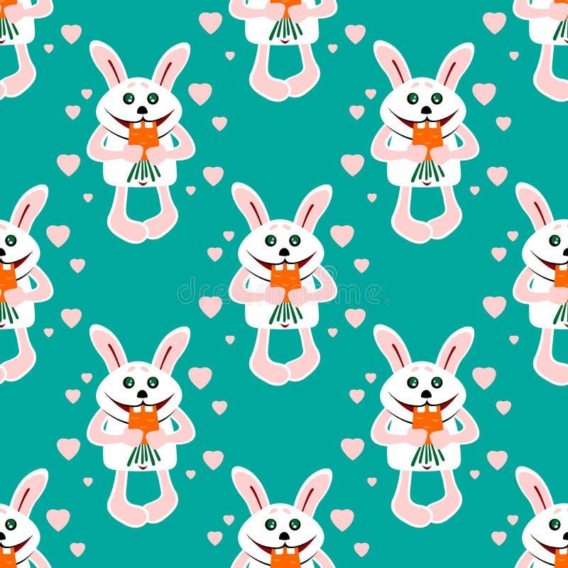 Teste padrão sem emenda dos coelhos ilustração royalty free