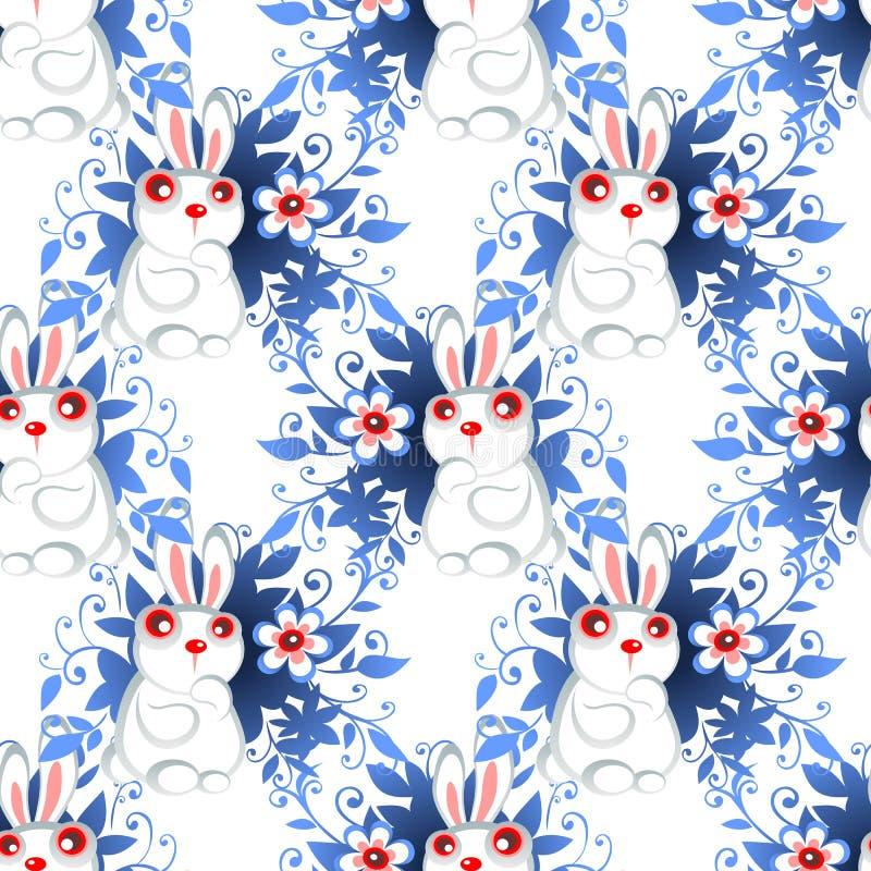 Teste padrão sem emenda dos coelhos da Páscoa ilustração do vetor