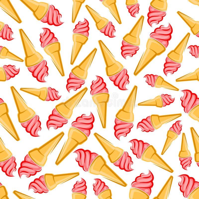 Teste padrão sem emenda dos cones de gelado de morango ilustração royalty free