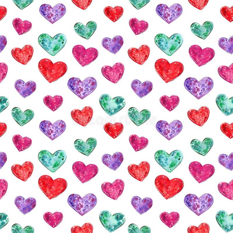 Teste padrão sem emenda dos corações coloridos, ilustração da aquarela ilustração royalty free