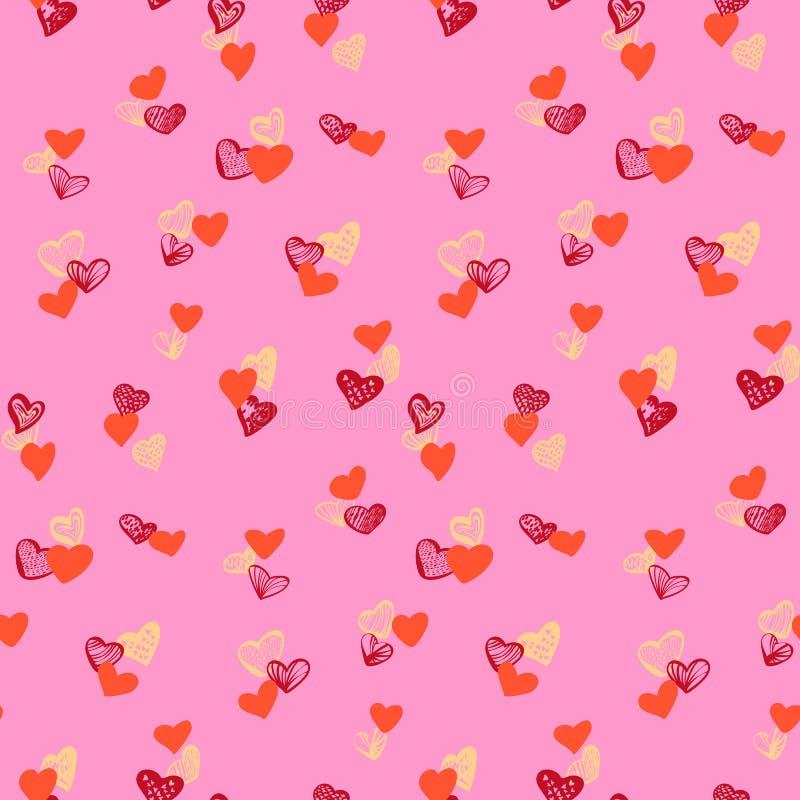 Teste padrão sem emenda dos corações coloridos no fundo cor-de-rosa ilustração do vetor