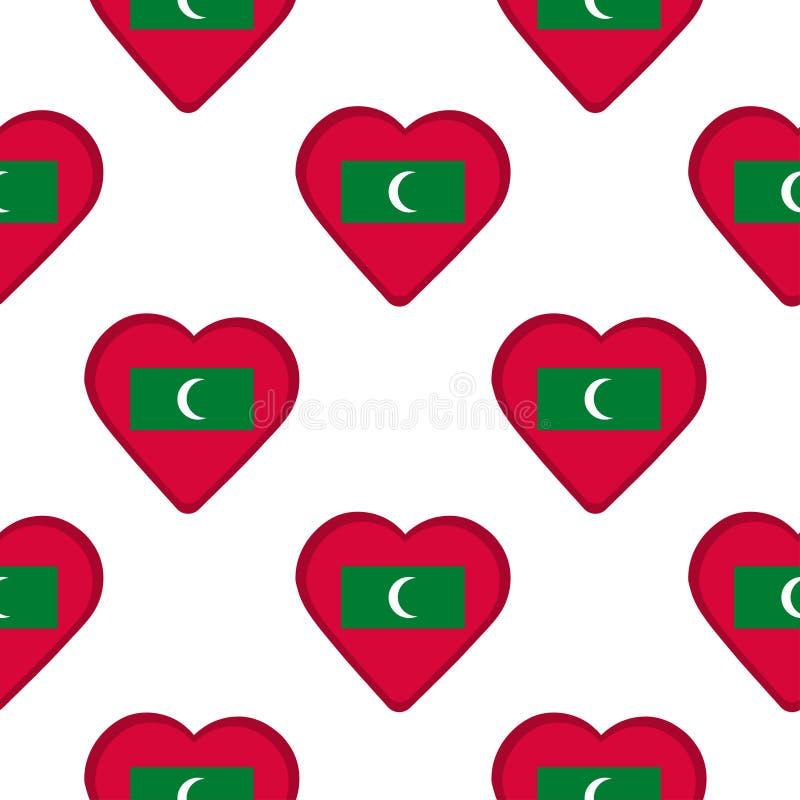 Teste padrão sem emenda dos corações com a bandeira de Maldivas ilustração royalty free