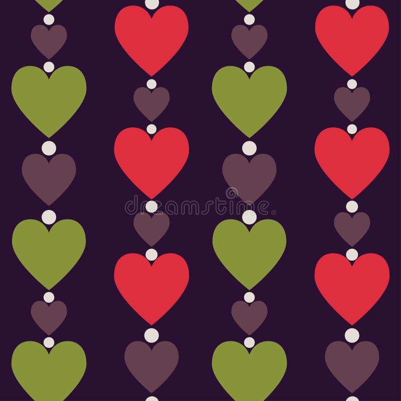 Teste padrão sem emenda dos corações Corações verticalmente dispostos Illu do vetor ilustração royalty free