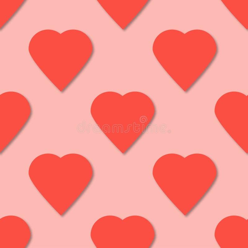 Teste padrão sem emenda dos corações de papel cor-de-rosa brilhantes fundo do vetor 3D ilustração do vetor