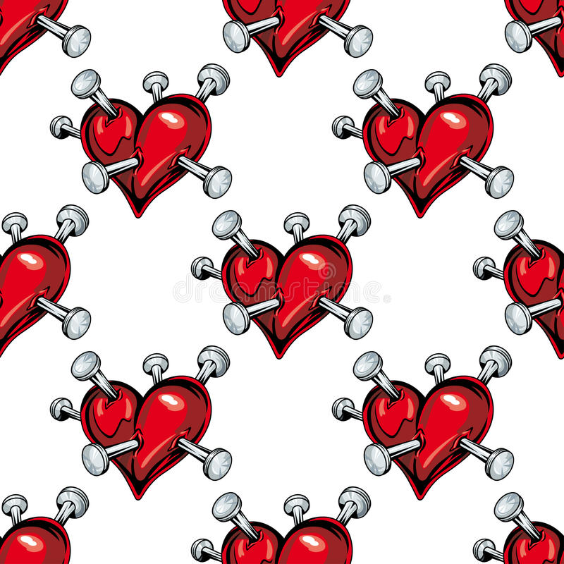 Teste padrão sem emenda dos corações de sangramento ilustração royalty free
