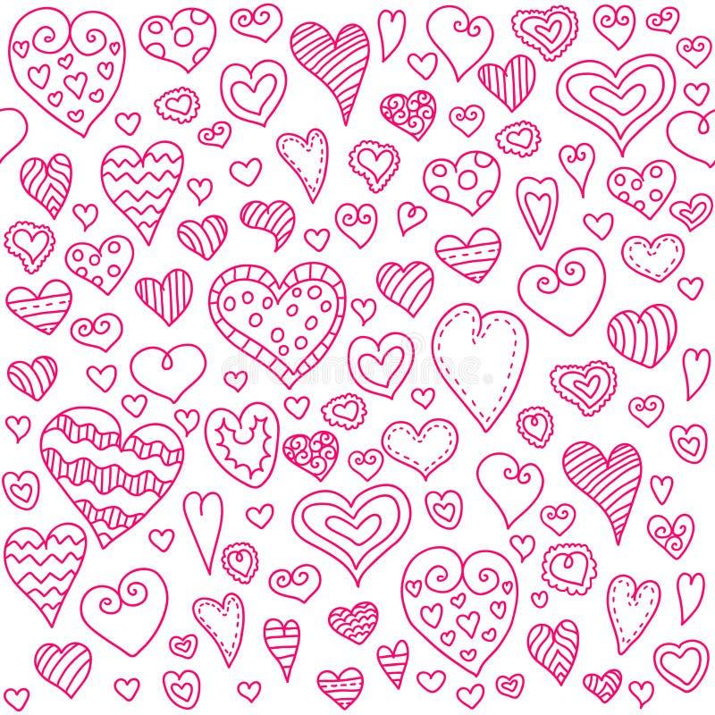 Teste padrão sem emenda dos corações do amor Coração da garatuja fundo romântico Ilustração do vetor ilustração stock