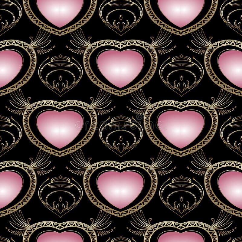 Teste padrão sem emenda dos corações do amor do vintage 3d Backgr modelado vetor ilustração stock