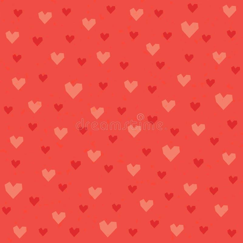 Teste padrão sem emenda dos corações do moderno em vermelho e em alaranjado ilustração royalty free