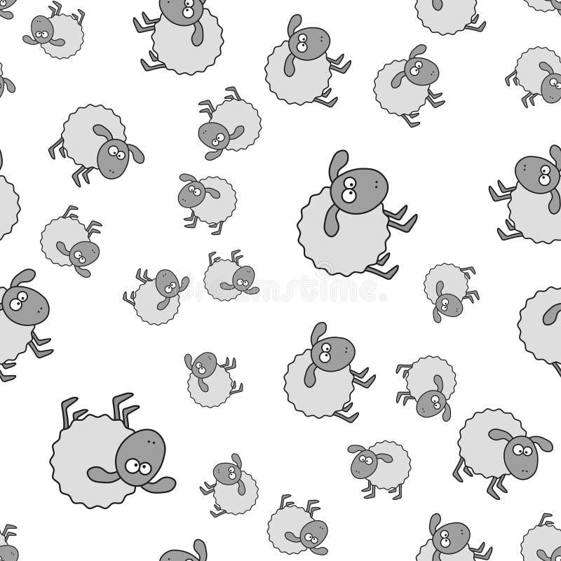 Teste padrão sem emenda dos cordeiros no estilo dos desenhos animados ilustração stock