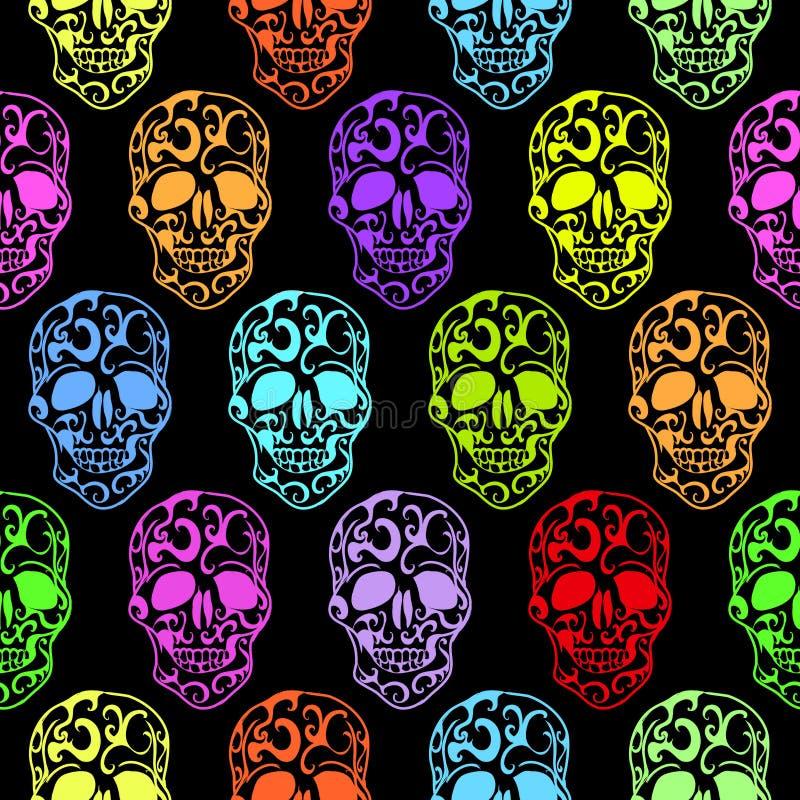 Teste padrão sem emenda dos crânios coloridos ilustração do vetor