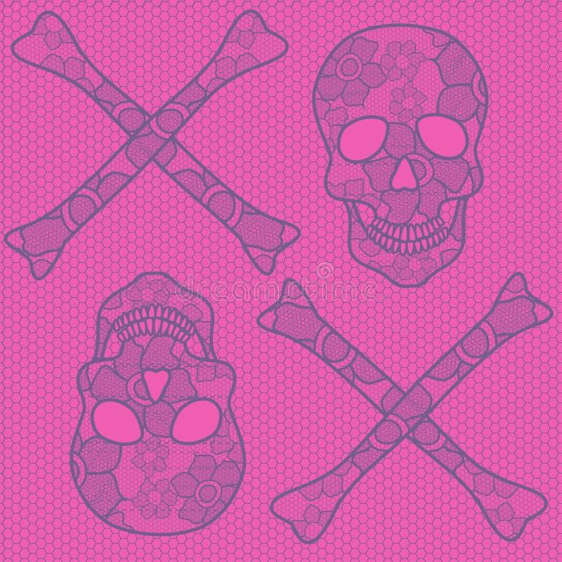 Teste padrão sem emenda dos crânios do laço ilustração stock