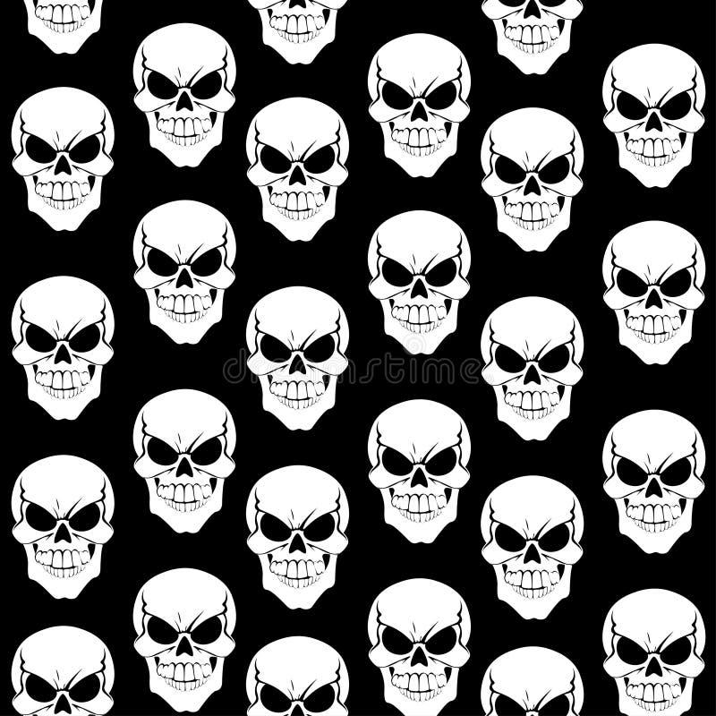 Teste padrão sem emenda dos crânios no fundo preto ilustração stock