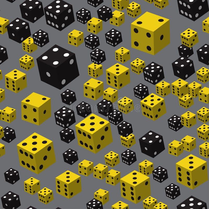 Teste padrão sem emenda dos dados pretos amarelos, ilustração 3D ilustração royalty free