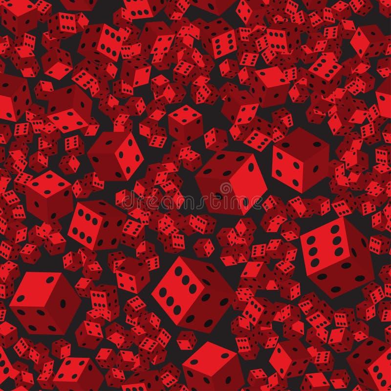 Teste padrão sem emenda dos dados vermelhos, ilustração 3D ilustração stock