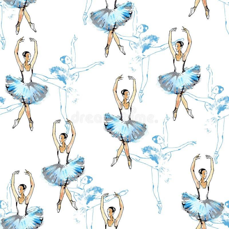 Teste padrão sem emenda dos dançarinos de bailado ilustração do vetor