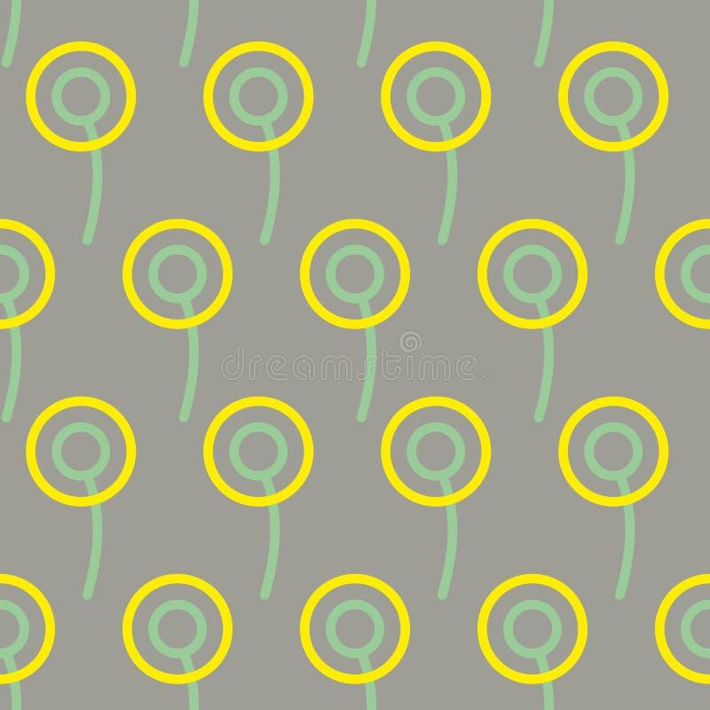 Teste padrão sem emenda dos dentes-de-leão Fundo de flores estilizados extremidade ilustração stock