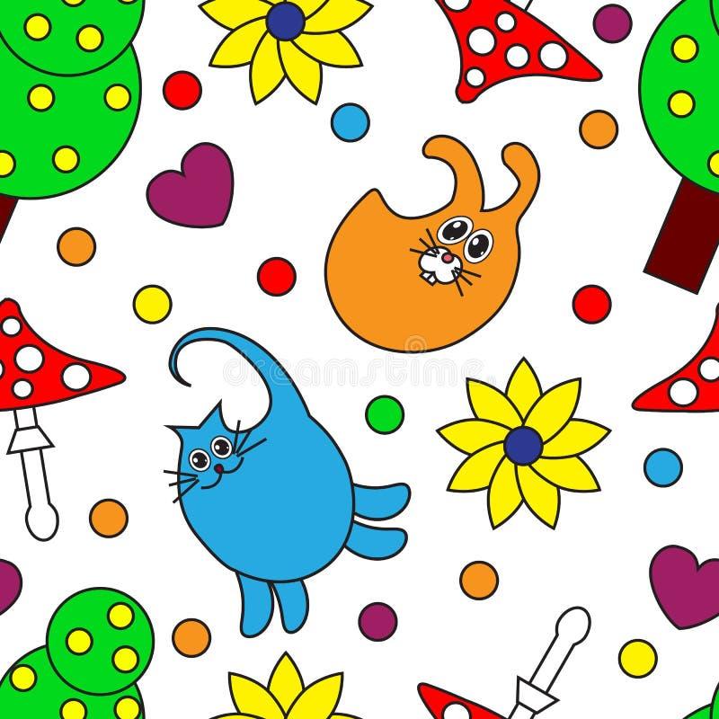 Teste padrão sem emenda dos desenhos animados com animais ilustração stock