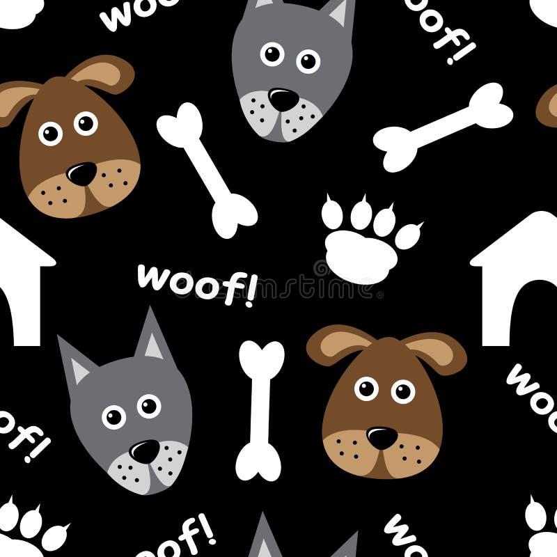 Teste padrão sem emenda dos desenhos animados com cães ilustração do vetor