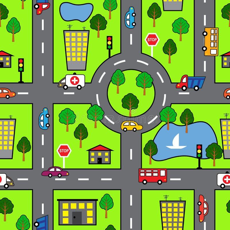 Teste padrão sem emenda dos desenhos animados com estrada brilhante, o carro e a cidade ilustração royalty free