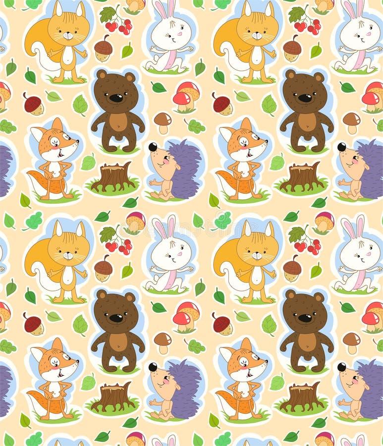 Teste padrão sem emenda dos desenhos animados com os animais bonitos da floresta e o tema do outono ilustração royalty free