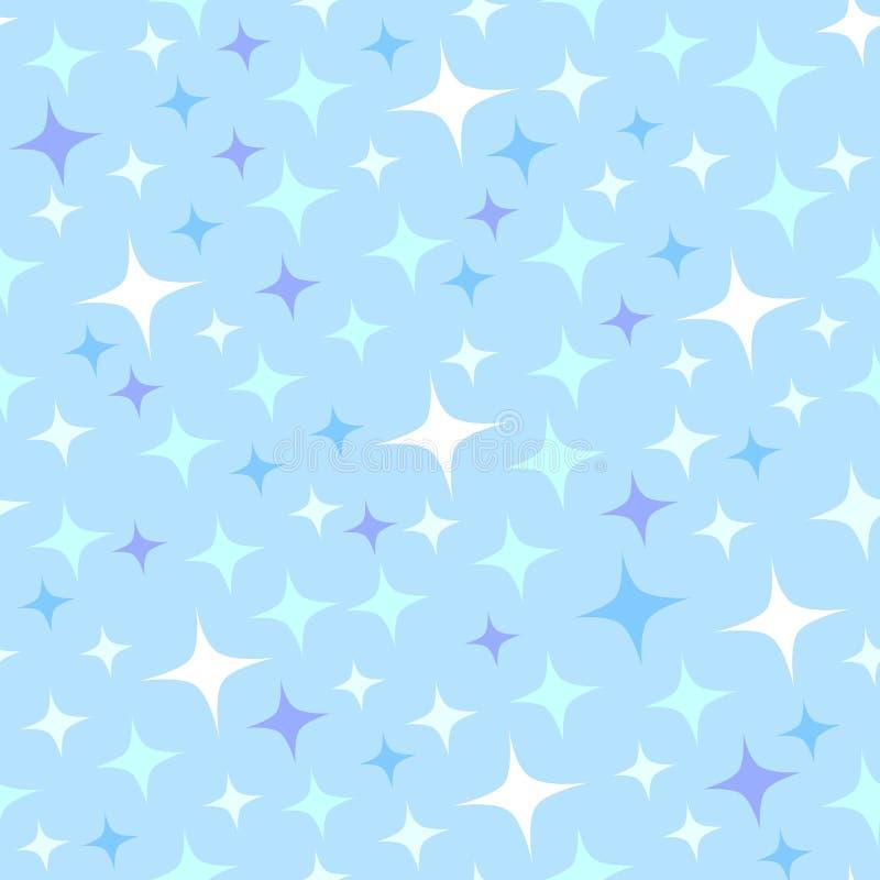 Teste padrão sem emenda dos desenhos animados com sparkles ilustração stock