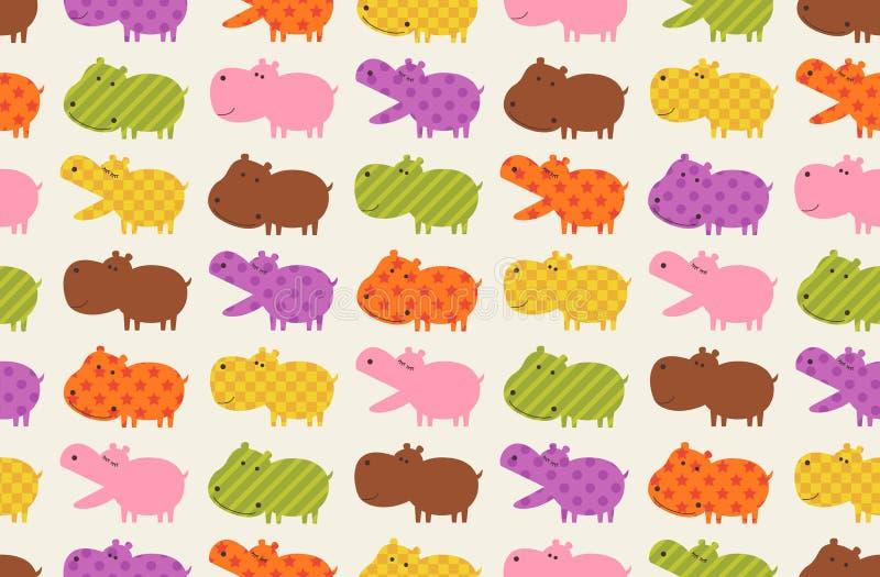 teste padrão sem emenda dos desenhos animados do hipopótamo ilustração do vetor