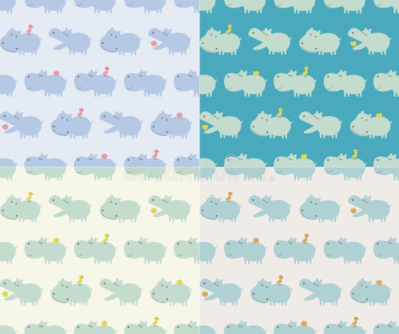 teste padrão sem emenda dos desenhos animados do hipopótamo ilustração stock