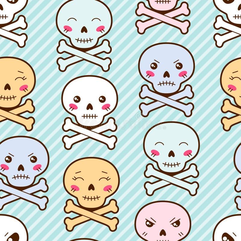 Teste padrão sem emenda dos desenhos animados do kawaii com crânios bonitos ilustração do vetor