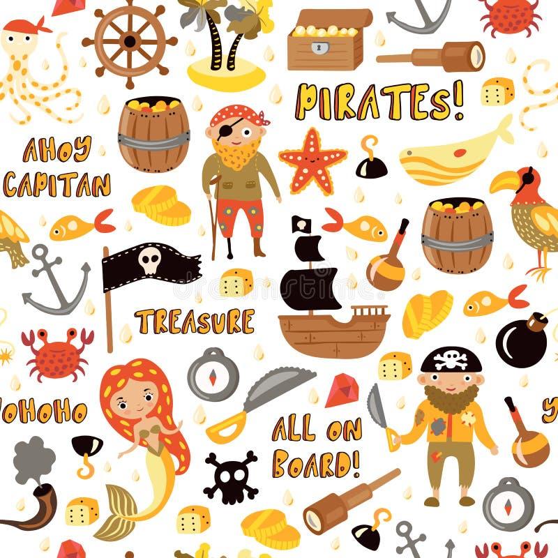 Teste padrão sem emenda dos desenhos animados do vetor dos piratas Fundo do partido das aventuras e do pirata para o jardim de in ilustração stock