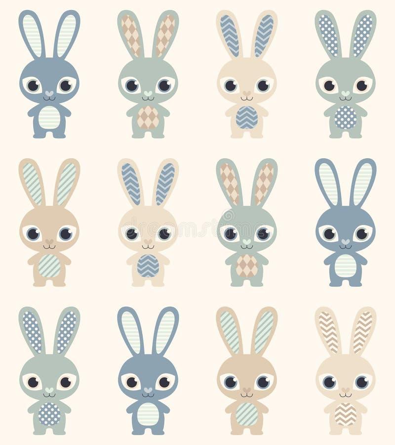 Teste padrão sem emenda dos desenhos animados dos coelhos ilustração royalty free