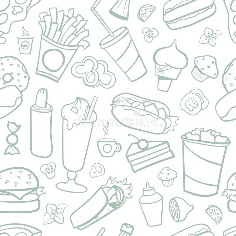 Teste padrão sem emenda dos desenhos do fast food Linha artes com fundo branco ilustração royalty free
