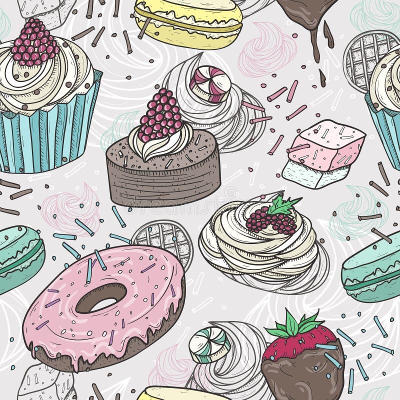 Teste padrão sem emenda dos doces bonitos ilustração royalty free