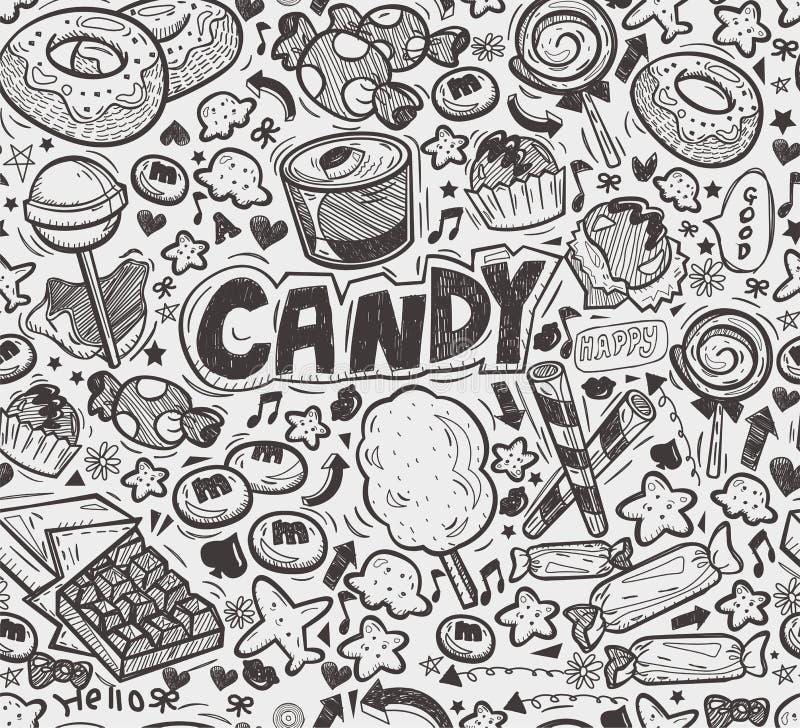 Teste padrão sem emenda dos doces da garatuja ilustração stock