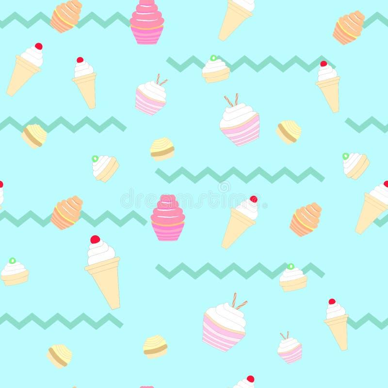 Teste padrão sem emenda dos doces em um fundo azul ilustração stock